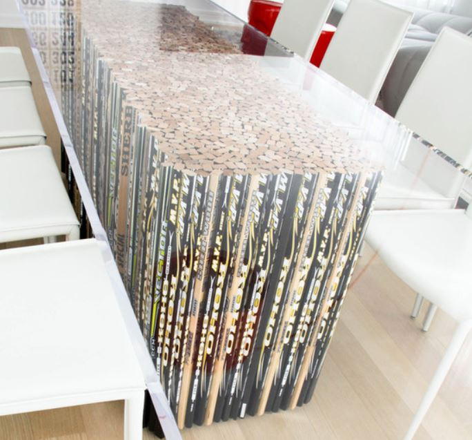 "Centre Ice Table made of 2"" thick acrypilc and sawed off hockey sticks design by Kodu Photo credit: Lila Bujold"